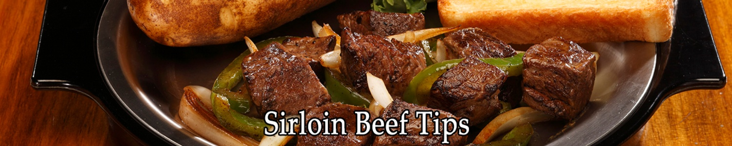 sirloin beef tips on plate