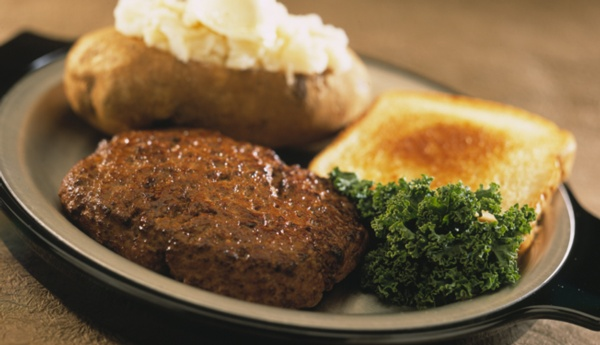 chopped sirloin with baked potato and toast