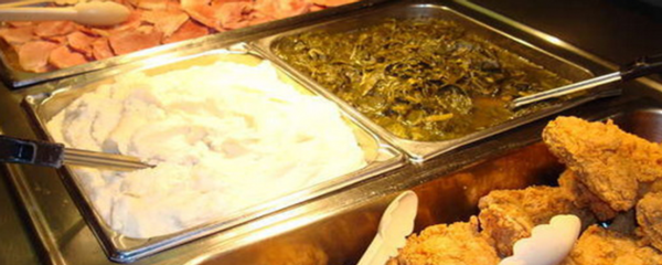 dinner buffet including okra and mashed potatoes
