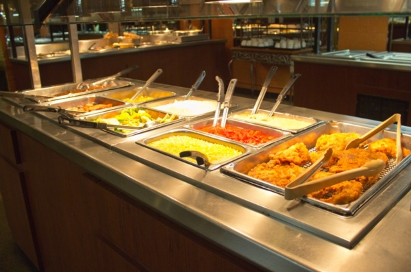 lunch buffet with fried chicken