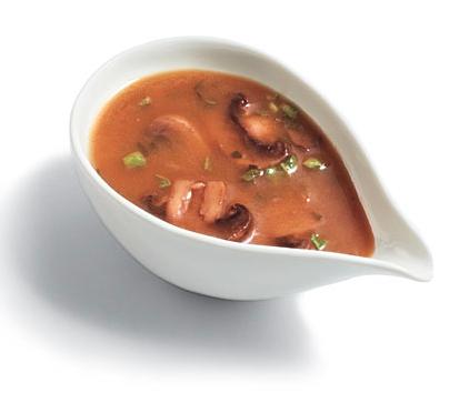 mushroom gravy in cup