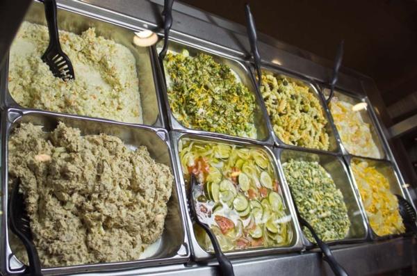 pasta salads at the buffet