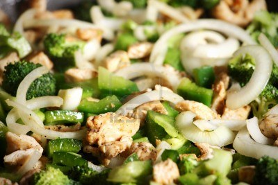 peppers, onions, chicken and broccoli