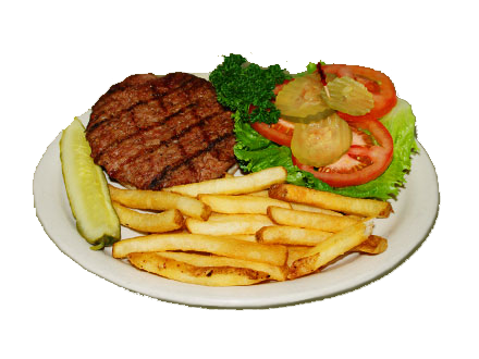 hamburger with french fries and a pickle