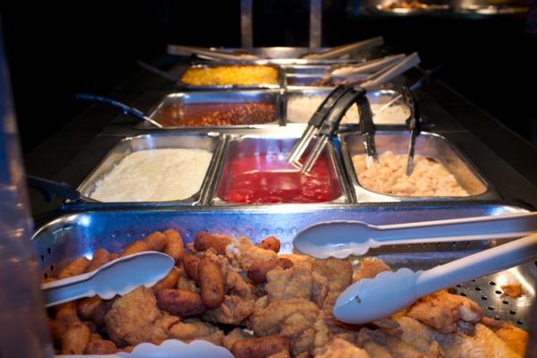 fried shrimp and catfish at buffet