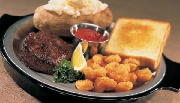 steak with shrimp and potato
